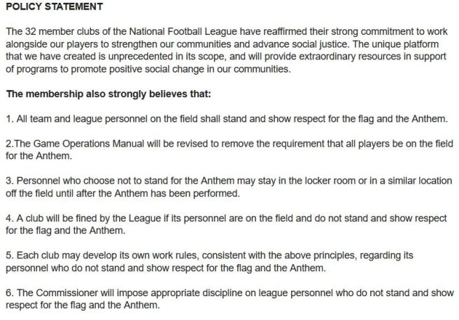 national anthem policy